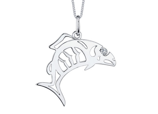 White Gold Fish Pendant with Canadian Diamond