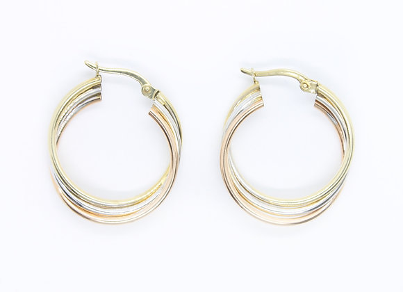 Triple Tone Gold Hoops