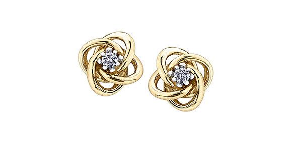 Yellow Gold Knot Canadian Diamond Stud Earrings
