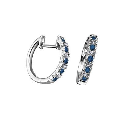 Sapphire & Diamond Thin Hoop Earrings