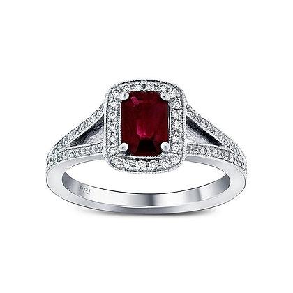 Elongated Cushion Cut Ruby Ring