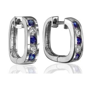 Sapphire & Diamond Huggie Earrings