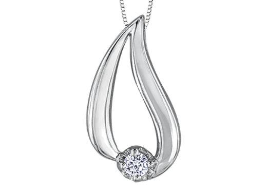 White Gold Tear Drop & Canadian Diamond Pendant