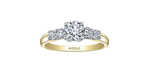 Yellow Gold Canadian 5-Stone Diamond Engagement Ring