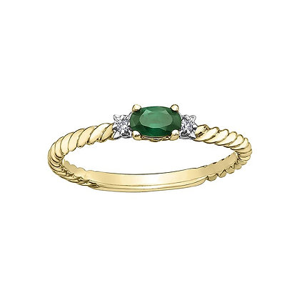 Emerald and Diamond Rope Ring
