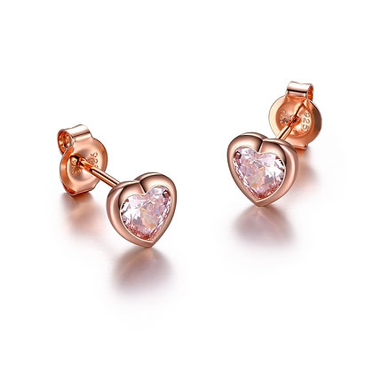 Rose Gold Plated Pink Heart Stud Earrings