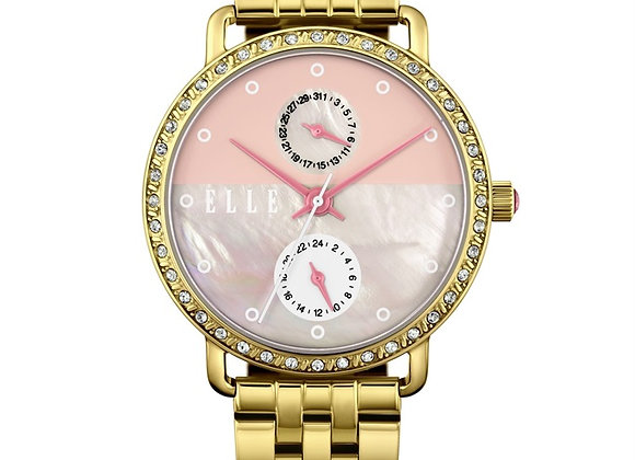 Gold-Tone Pink Dial Watch by ELLE