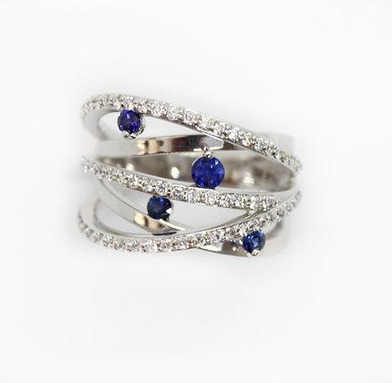Round Sapphire & Diamond Layered Band Ring