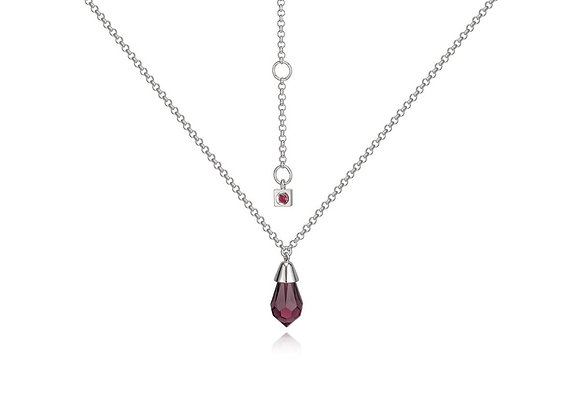Silver Red Crystal Necklace