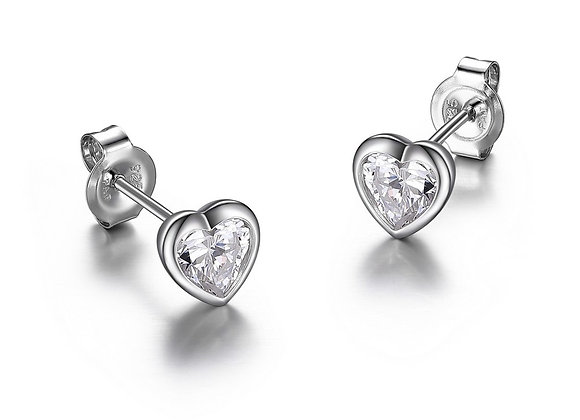 Cubic Zirconia Heart Studs