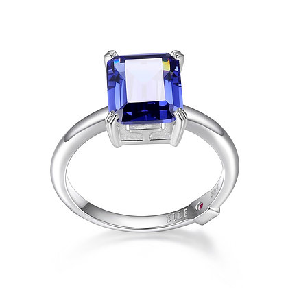 Silver Emerald Cut Tanzanite Inspired Cubic Zirconia Ring