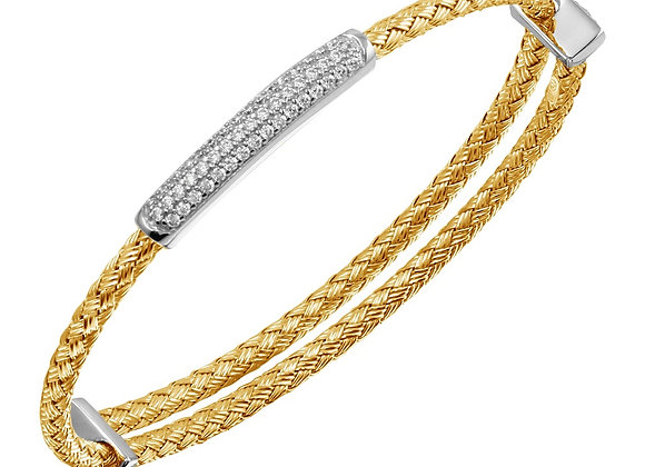 Yellow Expansion Bangle with CZ Bar