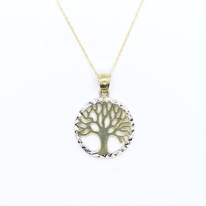 Two Tone Gold Round Tree of Life Pendant
