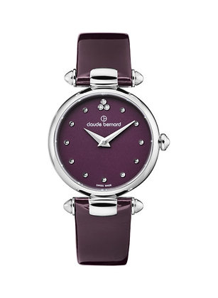 Violet Leather Strap Watch by Claude Bernard