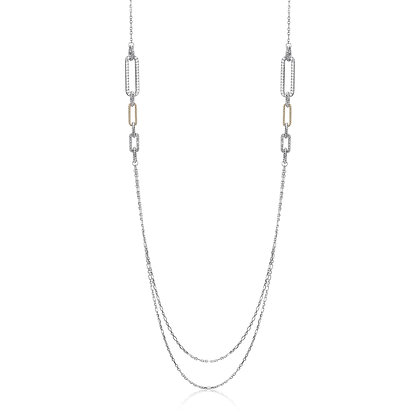 Silver Double Chain Necklace With Paper Clip Link Accents