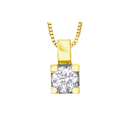 Yellow Gold Round Canadian Diamond Solitaire Pendant