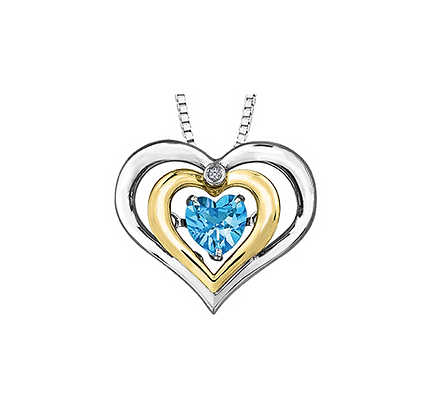 Two Tone Triple Heart Pendant With Blue Topaz