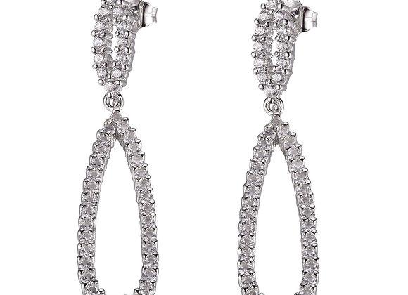 Silver Elongated Pear Drop Earrings