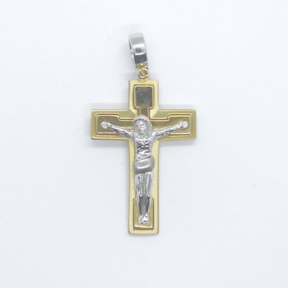 Two Tone Gold Crucifix Pendant (25mm)