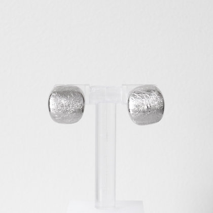 Round Curved White Gold Button Stud Earrings