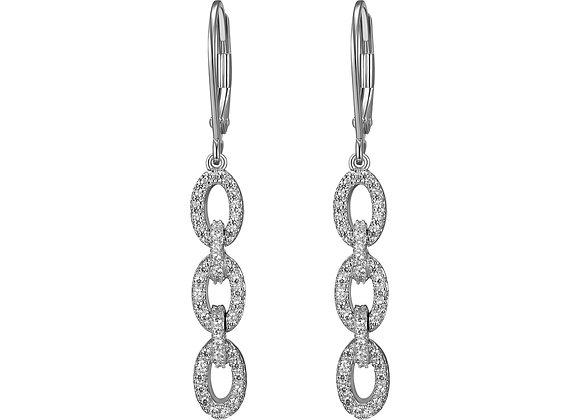 Chain Link CZ Drop Earrings