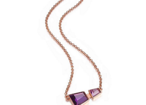 Rose Gold Plated Purple CZ Necklace