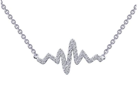 Simulated Diamond Heartbeat Pendant