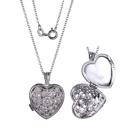 Silver Heart Locket With Filigree Detailing
