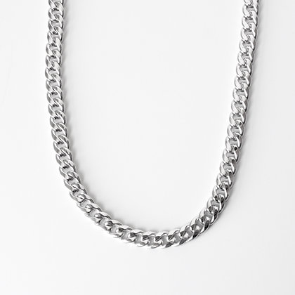 "White Gold Curb Link Chain (22"")"