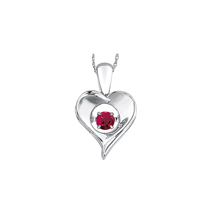 Silver Heart Pendant With Suspended Ruby