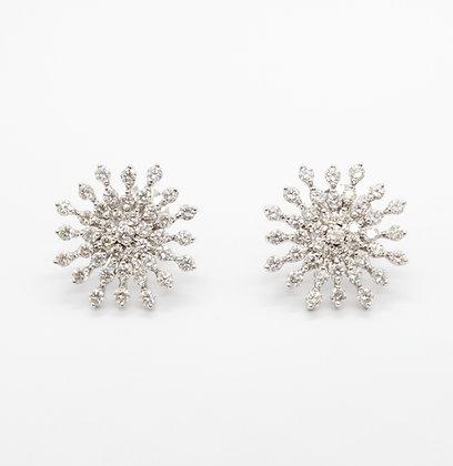 Diamond Snowflake Starburst Stud Earrings