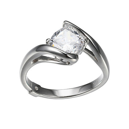 Silver Bypass Ring With Cushion Cut Cubic Zirconia