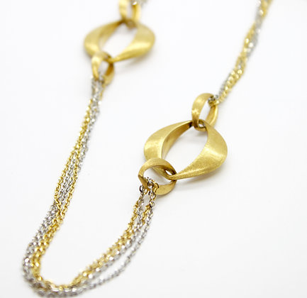 Two Tone Gold Large Oval Link Necklace