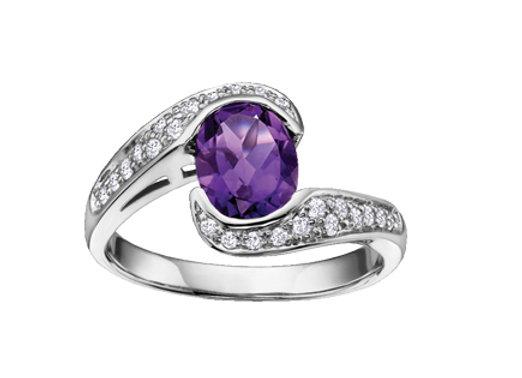 Oval Amethyst & Diamond Wrap Ring