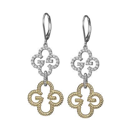Two Tone Silver Double Clover Monogram Earrings