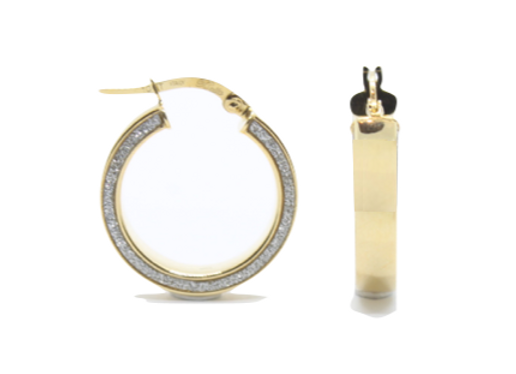 Yellow Gold Hoops With Diamond Detailing