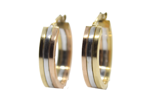 Three Toned Gold Hoops