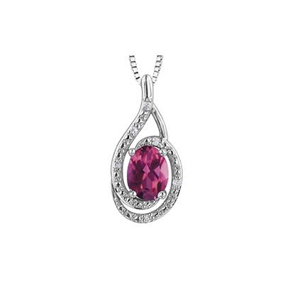 Silver Diamond & Oval Pink Topaz Pendant