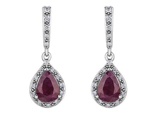 Pear Ruby & Diamond Drop Earrings