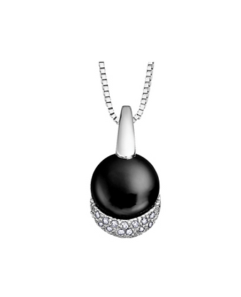 Round Black Onyx & Diamond Pendant