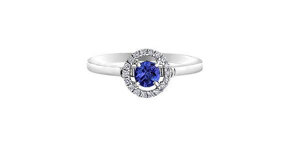 Round Tanzanite & Diamond Halo Ring