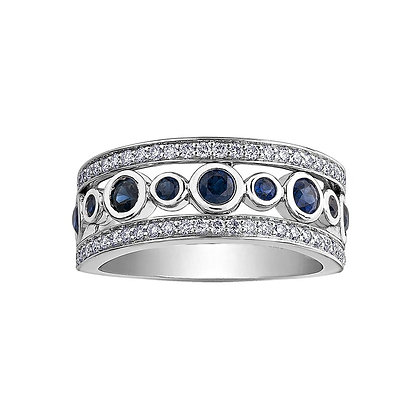 Sapphire & Diamond Wide Set Band
