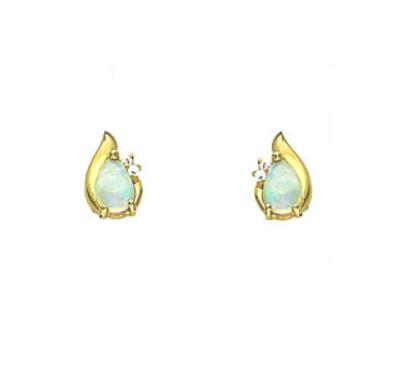 Yellow Gold Pear Cut Opal Stud Earrings