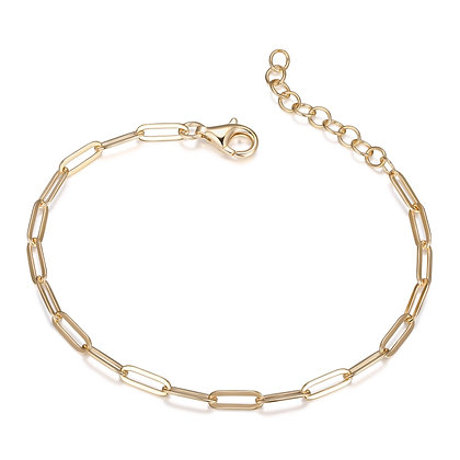"Yellow Gold Plated Plain Paper Clip Bracelet (8"")"
