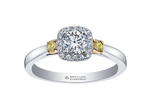 Round With Cushion Halo Diamond Ring