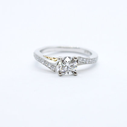 Round Cut Diamond Engagement Ring With Rose Gold Detailing