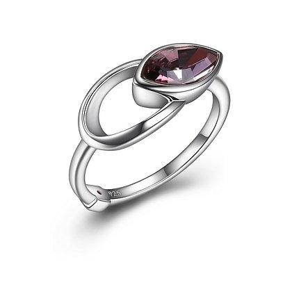 Silver Pink Swarovski Marquise Ring