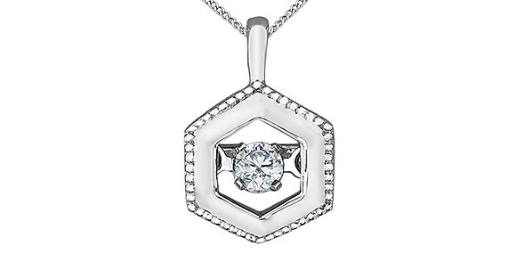 White Gold Hexagon Pendant with Pulse Canadian Diamond