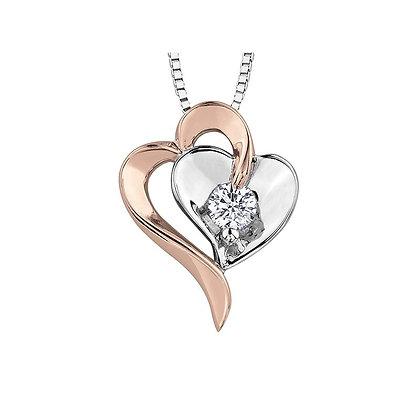 Two Tone Heart & Solitaire Canadian Diamond Pendant