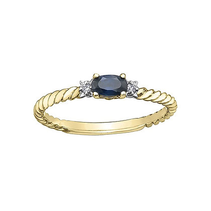 Yellow Gold Rope Sapphire & Diamond Ring